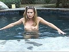 Johnny finds his sister\'s best friend naked in their pool and takes her clothes away -- unwilling to give them back until after she bends over and fucks him good and hard.