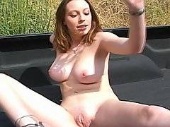 This cute co-ed was just playing with herself in the back of a truck when along came Johnny -- and that\'s when the scene really gets interested with this giggling girl taking it every which way but loose!