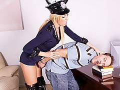 Damn, call the cops, at least if it\'s going to be a huge tit blonde whore like Victoria White that shows up.  Will Powers gets stopped for speeding and she takes him into the station on some outstanding warrants, and the outstanding size of his cock.  Once in the empty courtroom these two get at like horny co-eds.  Victoria\'s big boobs and beautiful round ass are rip for fucking, and she blows this stud\'s massive dick like it\'s her job.  She gets her clam slammed hard by this ample prick before getting blasted right in the face with a gigantic cumshot.