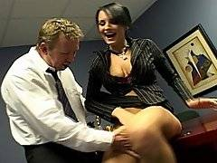 Alektra is fucking around with her boss in his office when they are kissing and she gets up on his desk and he starts to lap up her pussy. He drives her wild with desire and then Alektra returns the favor by getting down on her knees and sucking off his big erection. She deepthroats his cock all the way down until she chokes on his big member. Then while she is bent over the desk, he rams into her from behind. She swallows him once again, tasting her pussy juice on his cock and then they change positions. Alektra even gets baned in the ass on her boss\' desk until he finally fills up her mouth with his sperm.