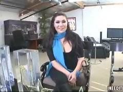 Pretty huge tited asian brunette comes to interview.