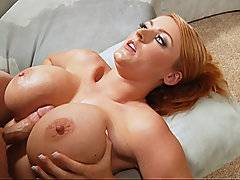 Sophie Dee spermed in shower after getting her massive tits fucked
