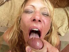 Debi Diamond blows a big bone before swallowing down a chunky load of cum