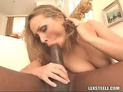 She deepthroats his black cock then gets analled