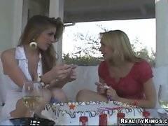 These lesbian friend wiil present her a wonderful dildo