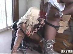 Lusty bitch sucking of afroman with enormous cock