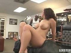 Big black dude conducts personal search of sexy brunette chick.