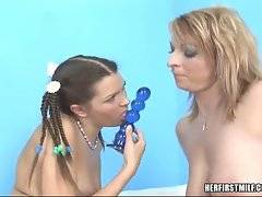 Big boobed blonde milf attacks her lover`s young hole with toy.