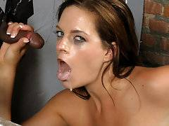 What is it exactly about a gloryhole in a disgusting bathroom that makes an otherwise commonsense hot babe go in there, take a stranger's huge black dick and put it in her mouth? Not only that, but to continue sucking, and give a complete stranger a blowjob, and finish him off in that same mouth. Just flat out eating the sperm of a man she doesn't even see, yet know who he actually is! Anonymous cocksucking with some of the hottest babes on the planet, and some of the horniest big black dicks spewing their funky loads into hungry mouths.