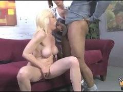 Nasty blonde mamma shows her cute daughter how to suck big black cock.