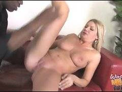 Pretty mamma gets her eager pussy sucked before getting black dick inside it.