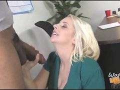 Naughty mature blondie blows thick black rod right in her office.