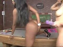 Cute naughty ebonie uses toy to get her sexy breasted girlfriend off.