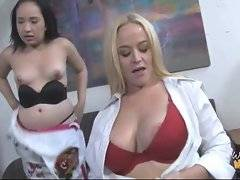 Awesome breasted lady sucks black rod on her daughter`s eyes.