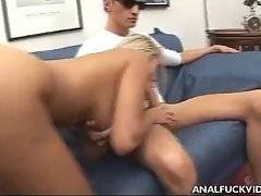 Naughty booty babe gives guy blowjob and jumps on hard cock.