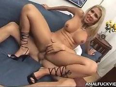 This nasty blonde babe really likes to feel dick moving inside her butt.
