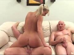 Two horny mature dudes are fucking naughty young babe.