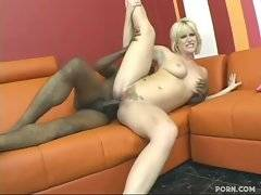 Nasty big tited blondie is attacked by thick black rod.