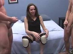 Pretty mature brunette gives blowjob to two fallows.