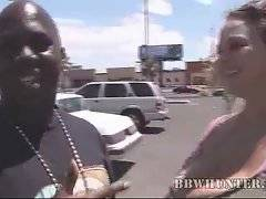 Huge tited white sweetie meets black dude at street.