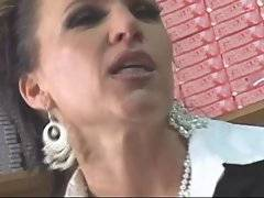 Mature ladyboss uses her official position to get sex fun.