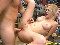 Pretty mature shop assistant is drilled by horny customer.