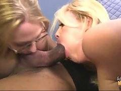 Young slutie sucks black dude`s balls while he drills her mom.