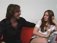 Pretty girl with tattooed tits is seduced by cute stranger.