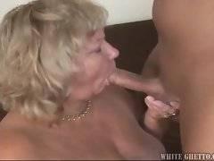 Sluty cockloving mature plumper jumps on hard young dick.
