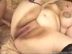 Plump slut with big pierced tits spreads her fat legs and screws.