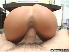 Booty brunette girl gets awesome sex pleasure.