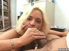 Blonde chick is born to do amazing blowjob