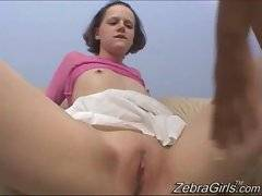 Bitch fucked that whore in cunt while rubbing her clit