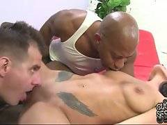 Black man lets guy taste his cock juices from chick`s pussy.