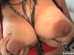 Awesome sluty brunette fucks until gets cum on her huge juggs.