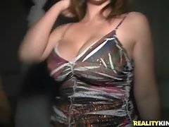 Busty whore is showing her huge tits in the vip