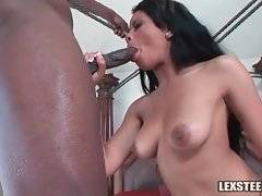 Ebony girl blows thick black dong before doggy style action.