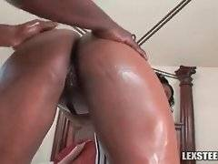 Muscled black dude adores babe`s yammy caramel booty.