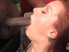 Redhead white whore loves to fuck with two black brothas.