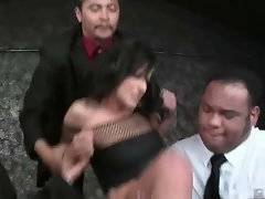 Three black police officers in plain-clothes are sharing slut.