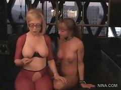 Bitch in red underwear and big tits likes to touch her chicks tits