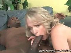 Cutie licks off her own pussy juices from big black dick.