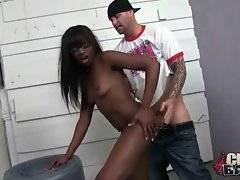 Ebony chick welcomes thick white dicks inside her holes.
