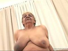 Big boobed ebony granny gives guy skilful blowjob.