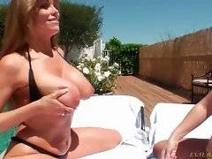 Naughty bitches are playing game on the pool