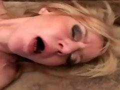 Skilful blonde mom gives blowjob to her younger lover.