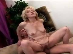 Nasty aged blonde skilfully jumps on stiff dong.