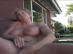 Granny tenders her clit and eagers for good fucker.