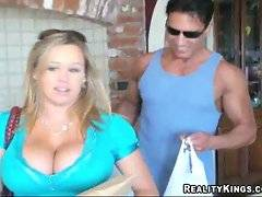 Couple comes home from shopping. They have bought juicy melons but guy eagers for big melons of his girlfriend.