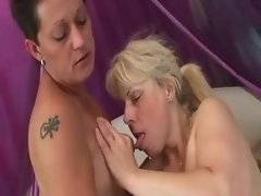 Horny chubby blonde granny is drilled with toy.